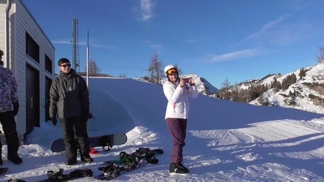 Na lyžích a snowboardu v rakouských Alpách prosinec 2015