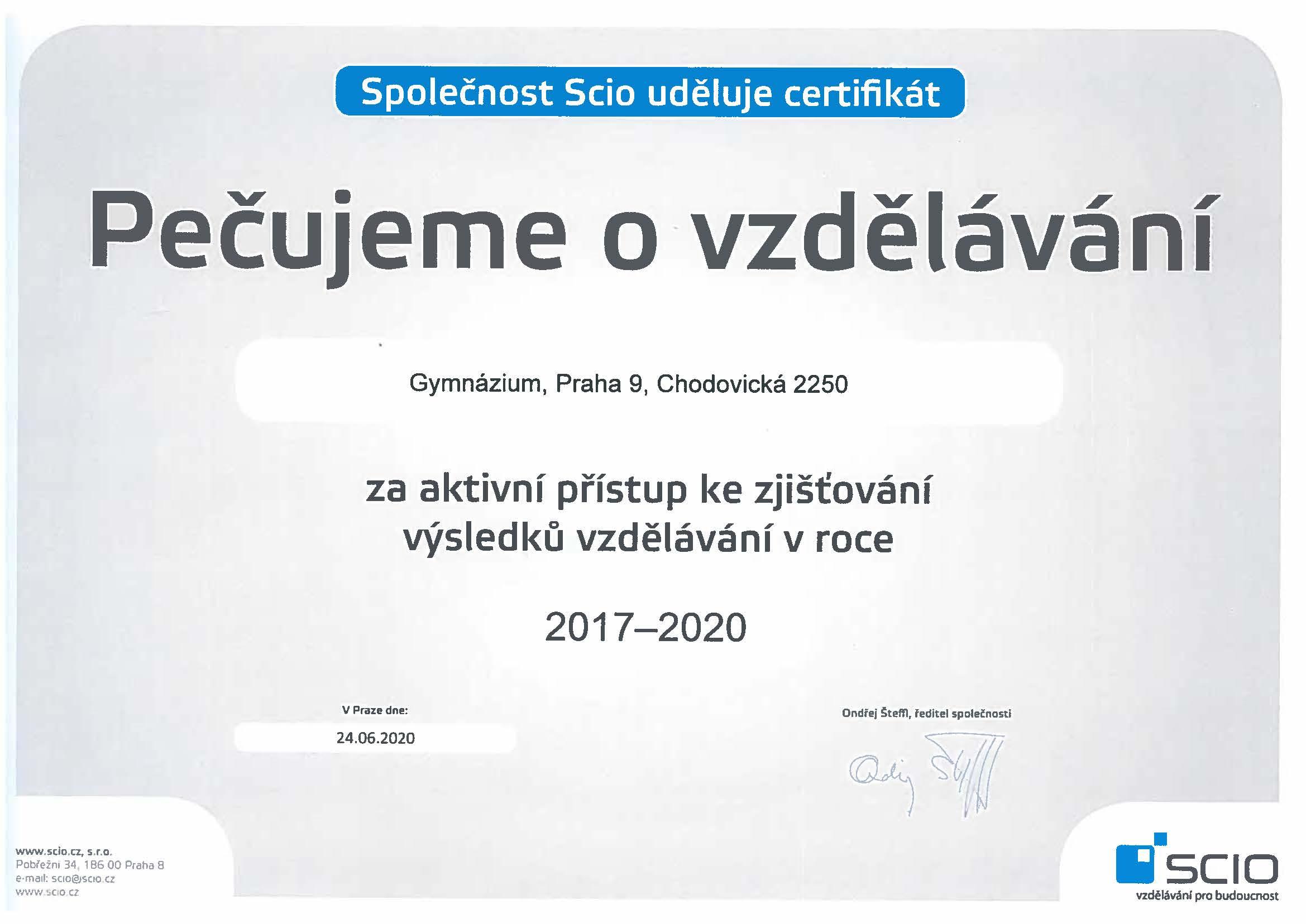 Ocenění společnosti Scio